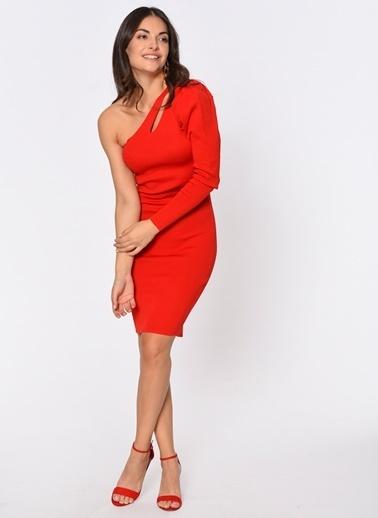 Loves You Tek Kol Triko Elbise Kırmızı